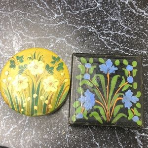 Vintage hand painted Indian trinket boxes